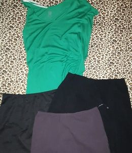 3 mini skirts and 3 tops size small with jewelry